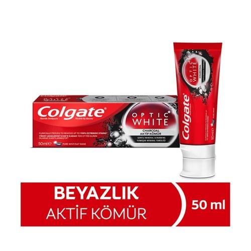 Colgate Optic White Aktif Kömür Yumuşak Mineral Temizliği Beyazlatıcı Diş Macunu 50 Ml