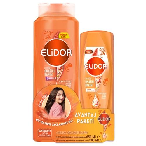 Elidor Şampuan 650 Ml Onarıcı + Onarıcı Saç Kremi 200 Ml